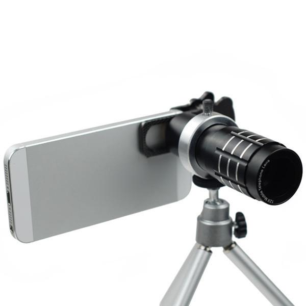 Универсальный съемный объектив для смартфона на штативе с увеличением 12X Mobile Telephoto Lens