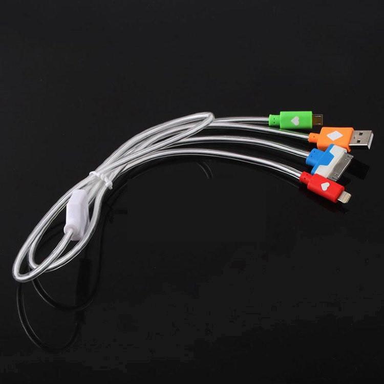 Data кабель адаптер 3 в 1 с подсветкой